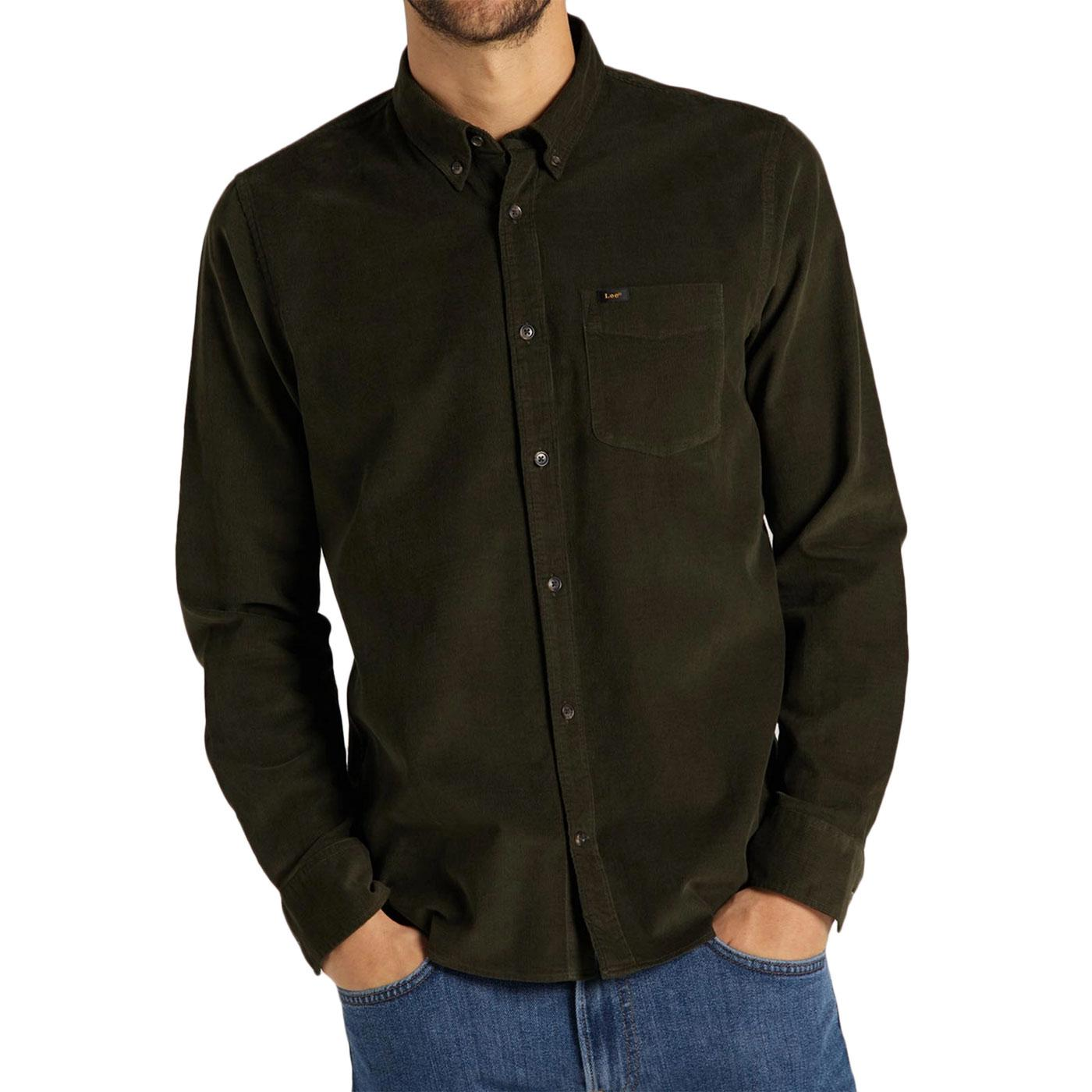 Lee Mod Button Down Cord Shirt (Serpico Green)