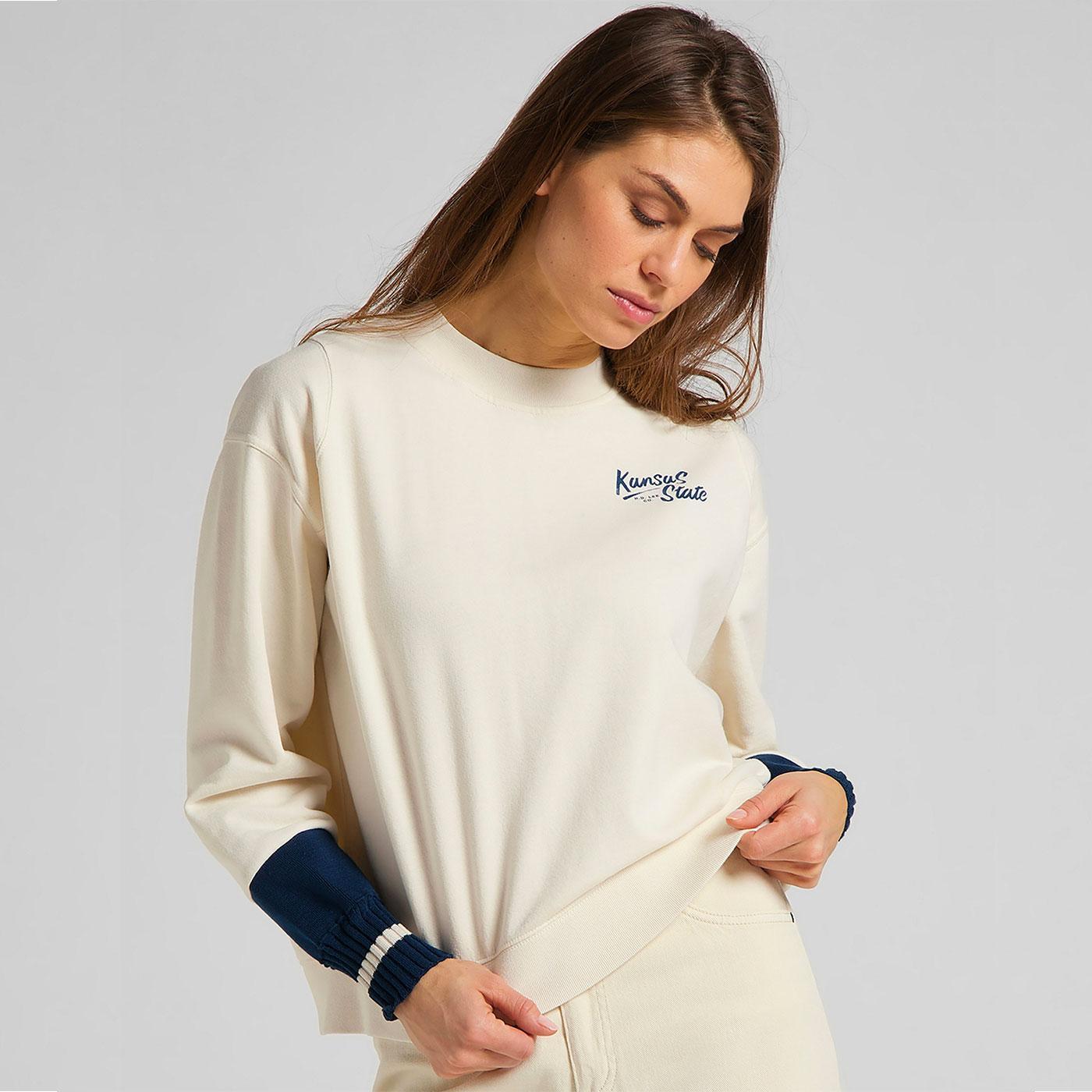LEE Womens Cut & Sew Raglan Sweatshirt Shark Tooth