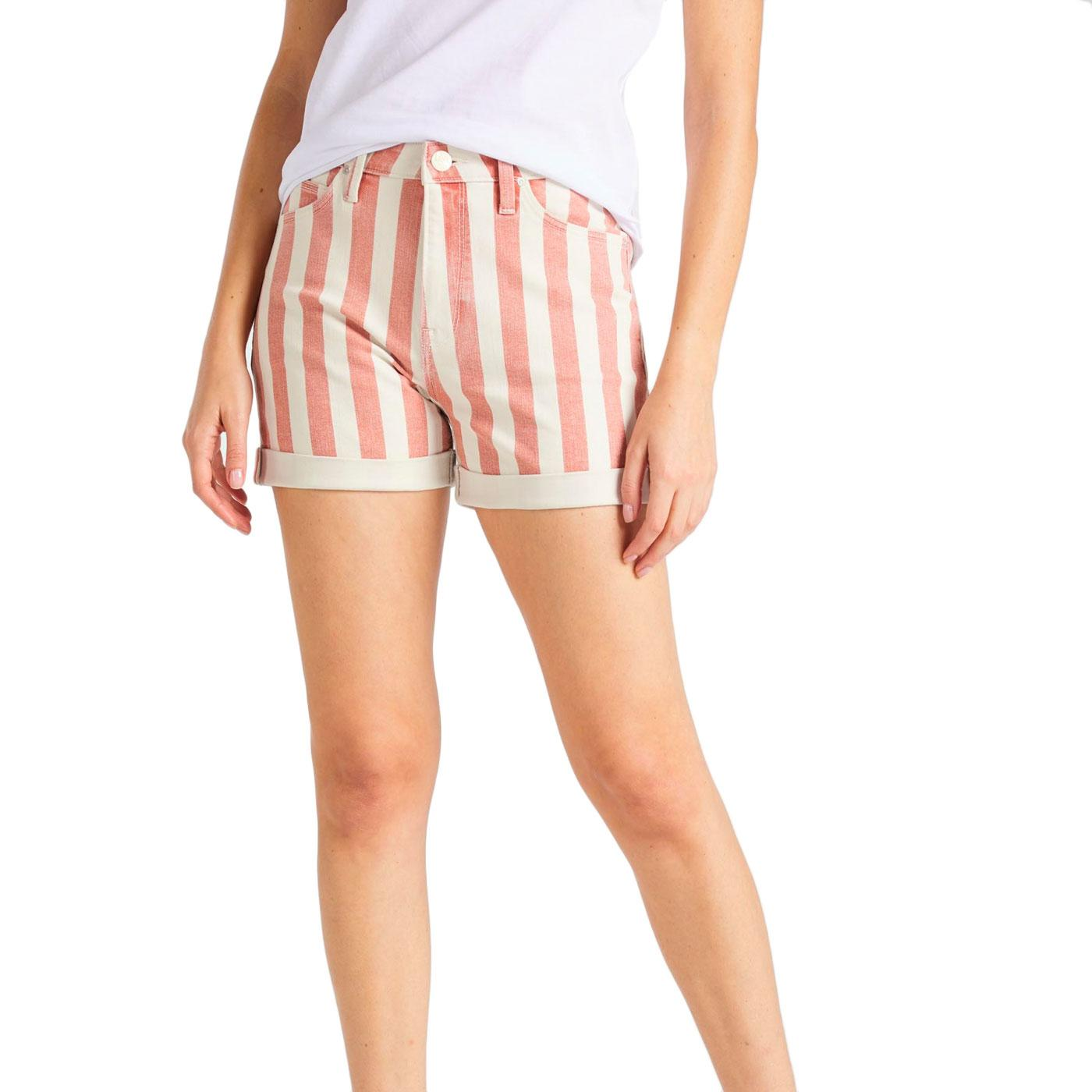 LEE JEANS Retro 90s Relaxed Stripe Mom Shorts RED