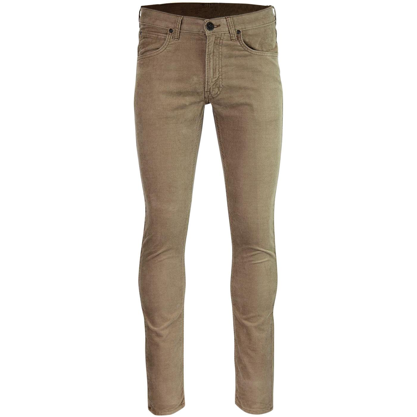 Luke LEE Mens Mod Slim Tapered Cord Jeans ANTELOPE