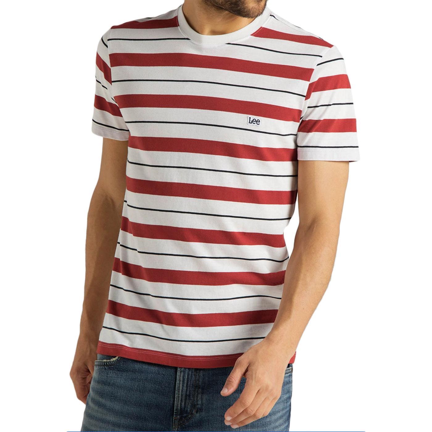 LEE Men's Retro Mod Multi Stripe Tee (Red/White)