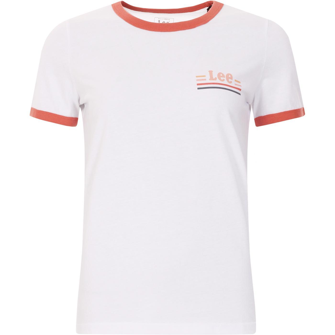 LEE Women's Retro 1970s Ringer T-shirt (White)
