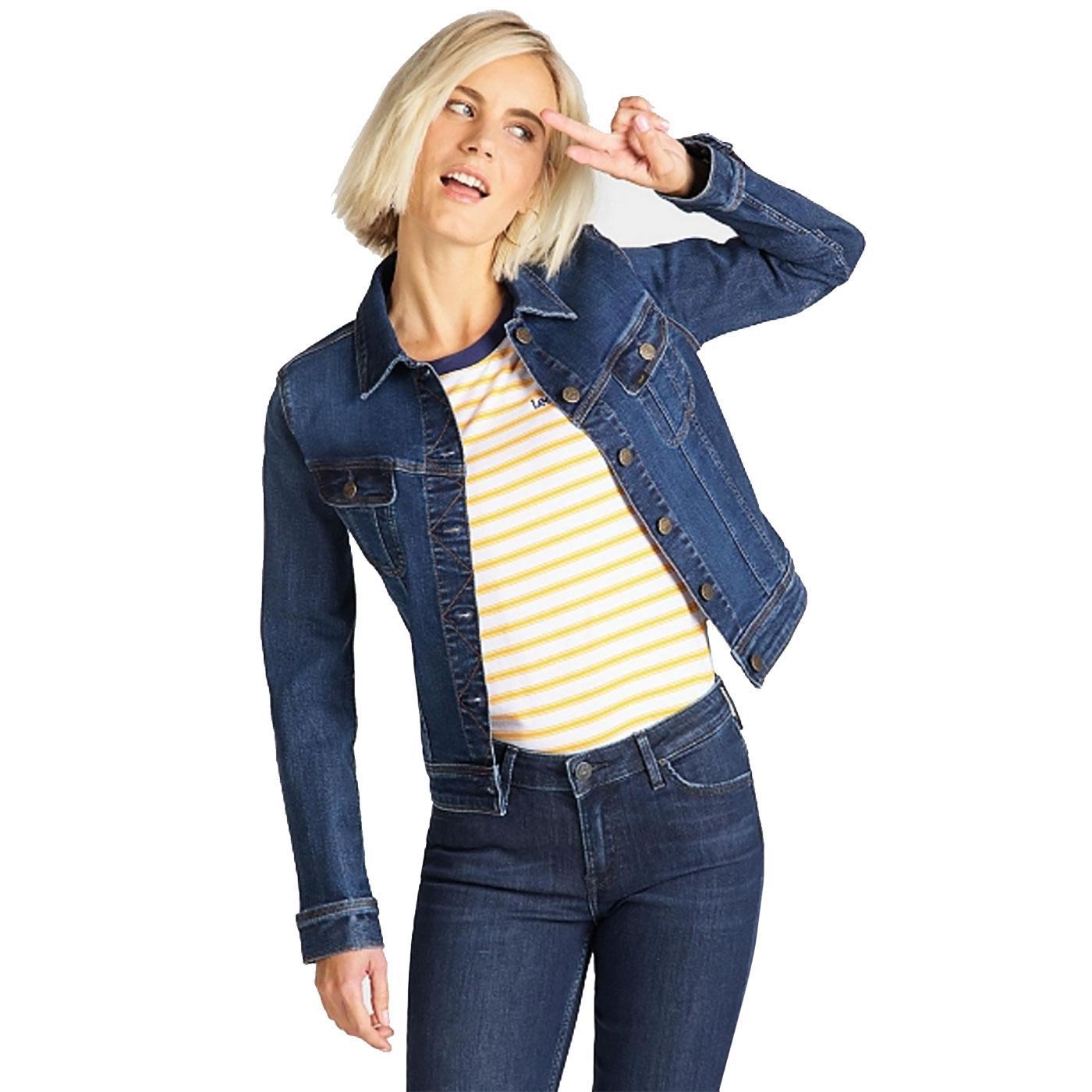 LEE Slim Rider Womens Retro Denim Jacket DARK HUNT