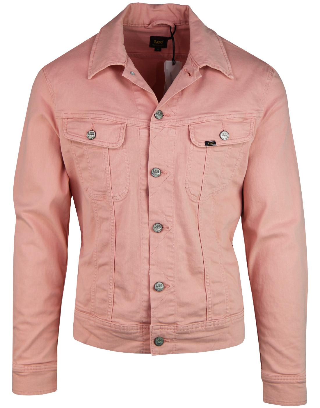 LEE Slim Rider Retro 80s Denim Jacket FADED PINK