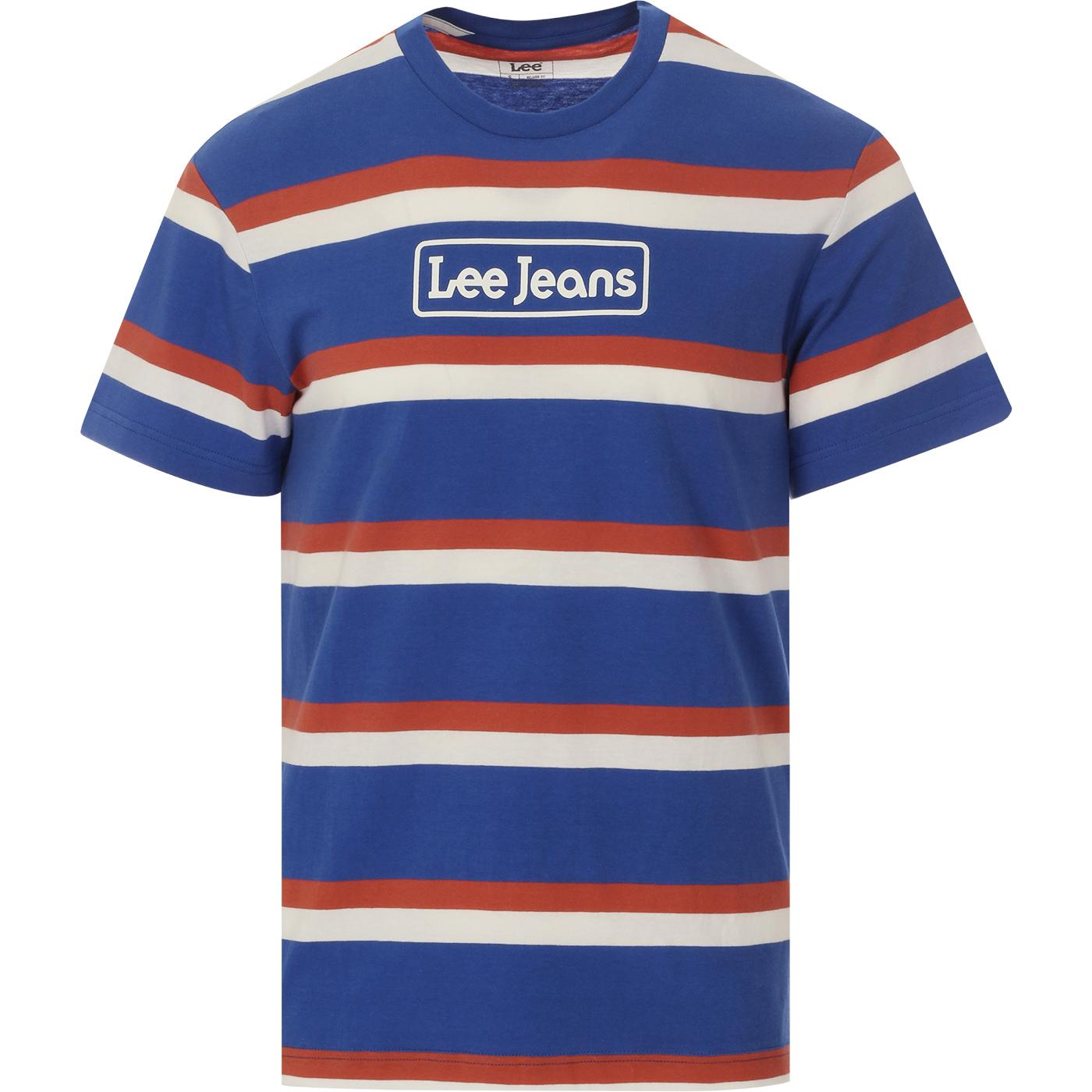 LEE Retro 70s Summer Blue Stripes Crew Logo Tee
