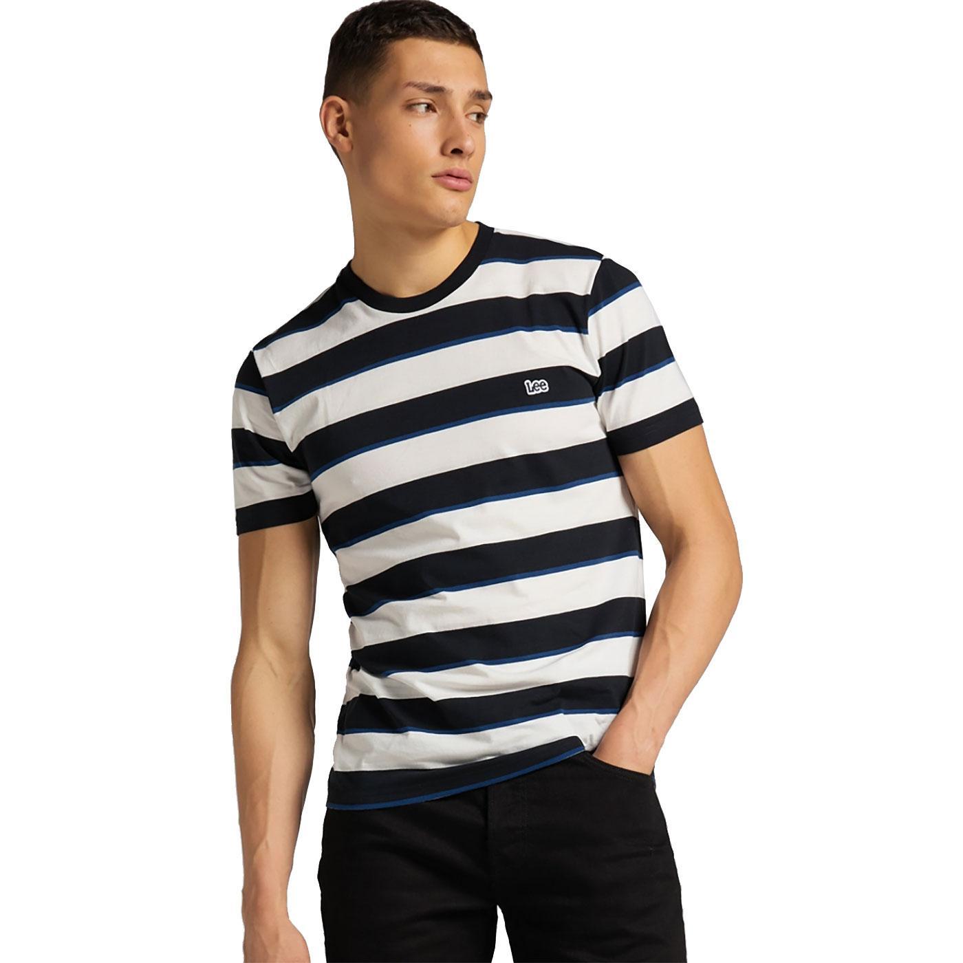 LEE JEANS Retro Mod Multi Stripe T-Shirt BLACK