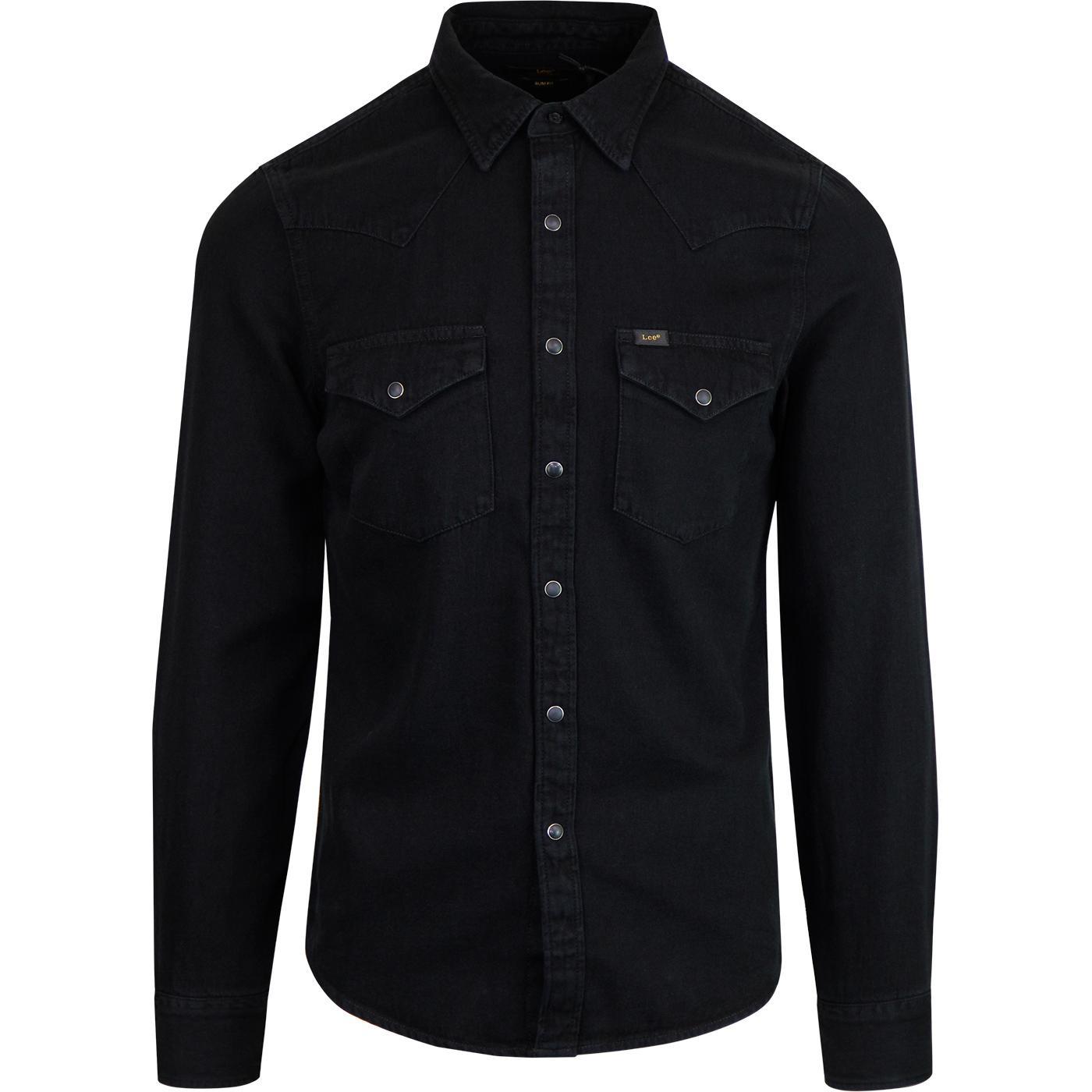 LEE Retro 70s Slim Fit Denim Western Shirt (Black)