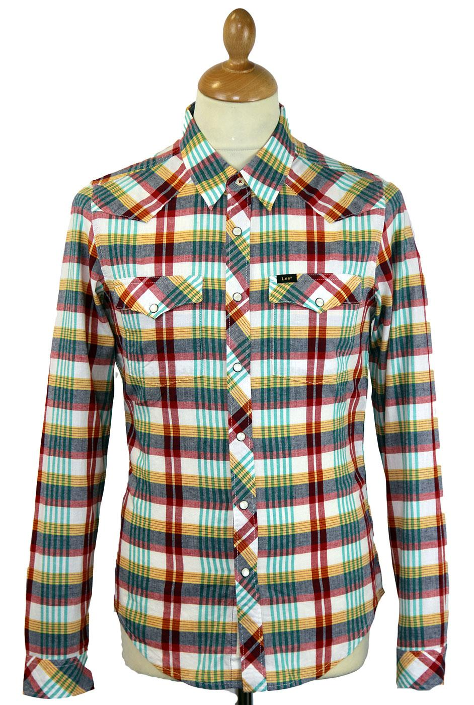 LEE JEANS Retro Mod Western Check Shirt (Lava Red)