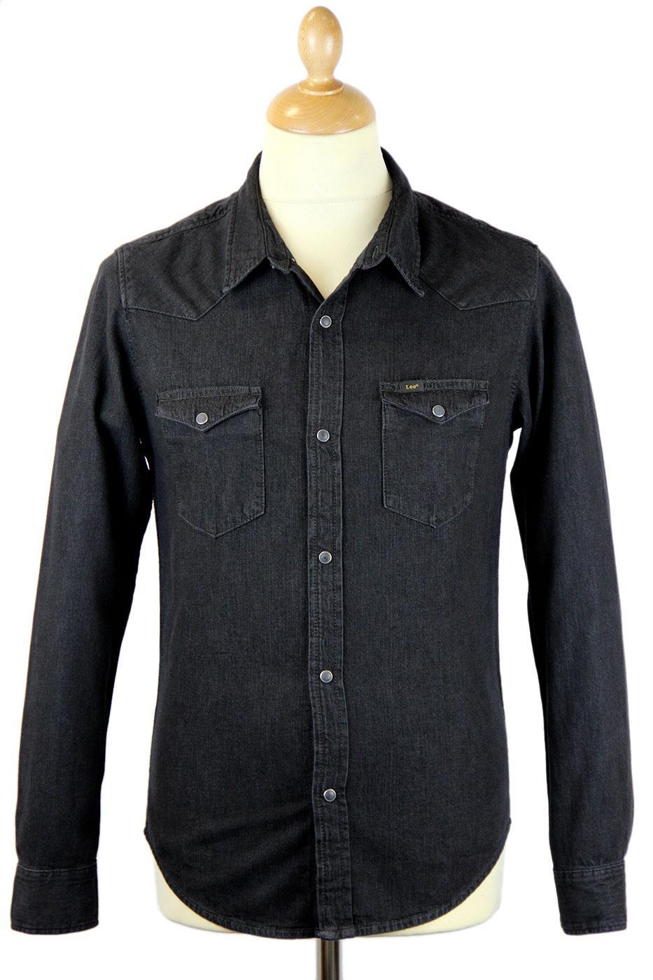 LEE Slim Fit Retro Indie Mod Denim Western Shirt Pitch Black