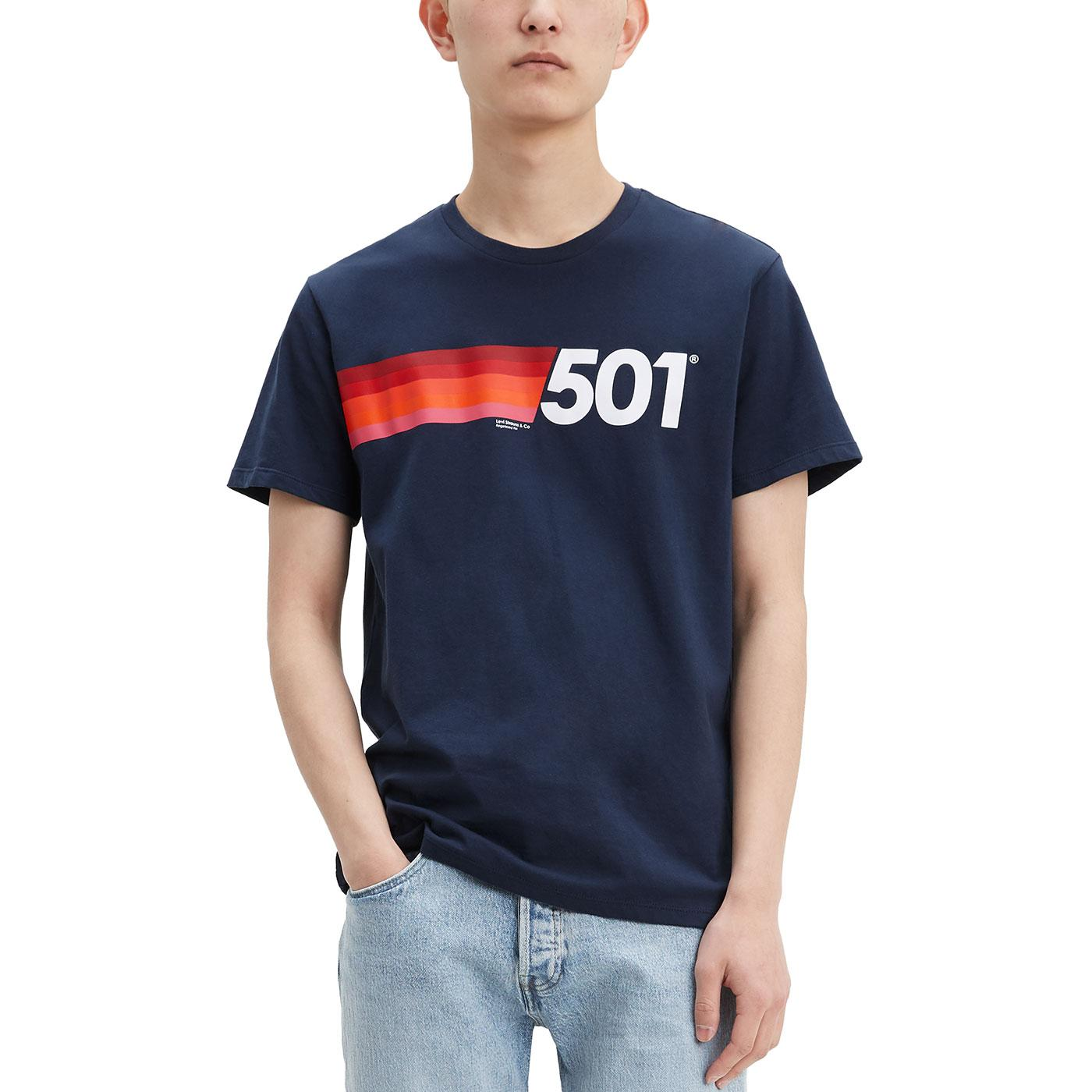 LEVI'S 501 Rainbow Chest Stripe Retro Tee (Navy)