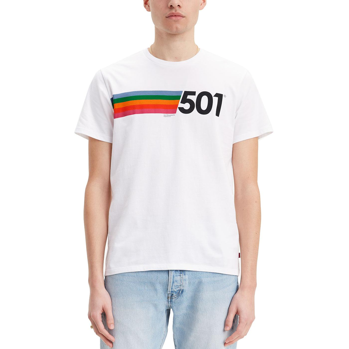 LEVI'S 501 Rainbow Chest Stripe Retro Tee (White)