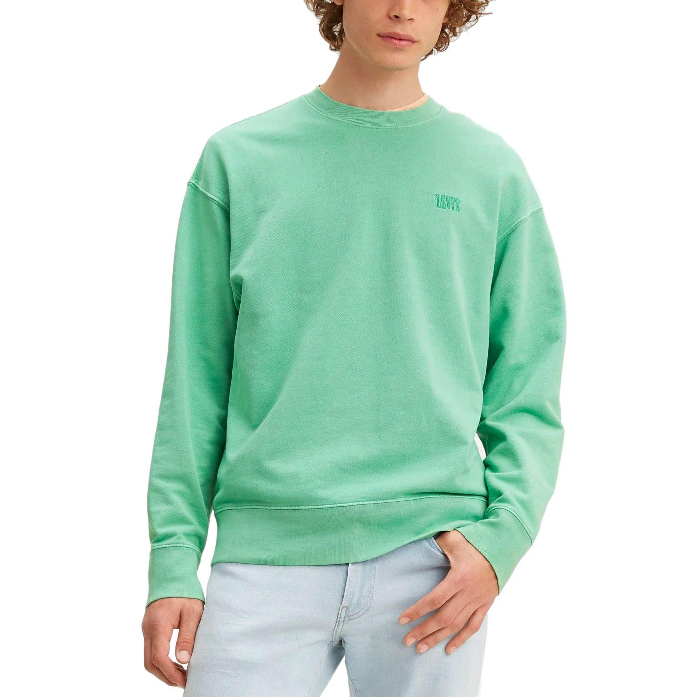 LEVI'S Men's Retro Authentic Logo Sweatshirt GREEN
