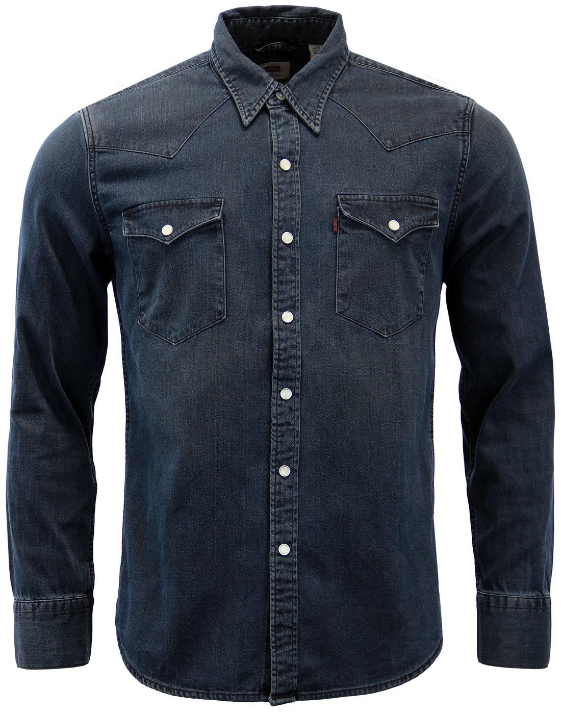 levi 39 s barstow retro 70s mens western denim shirt in. Black Bedroom Furniture Sets. Home Design Ideas
