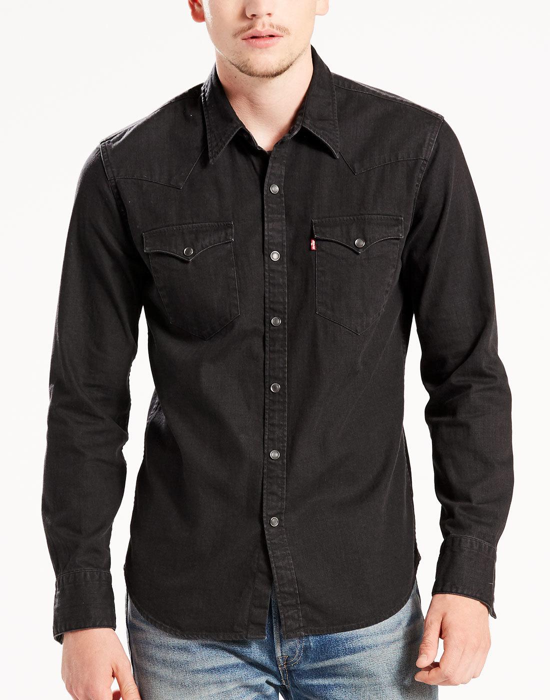 levi 39 s barstow men 39 s retro 70s mod denim western shirt in