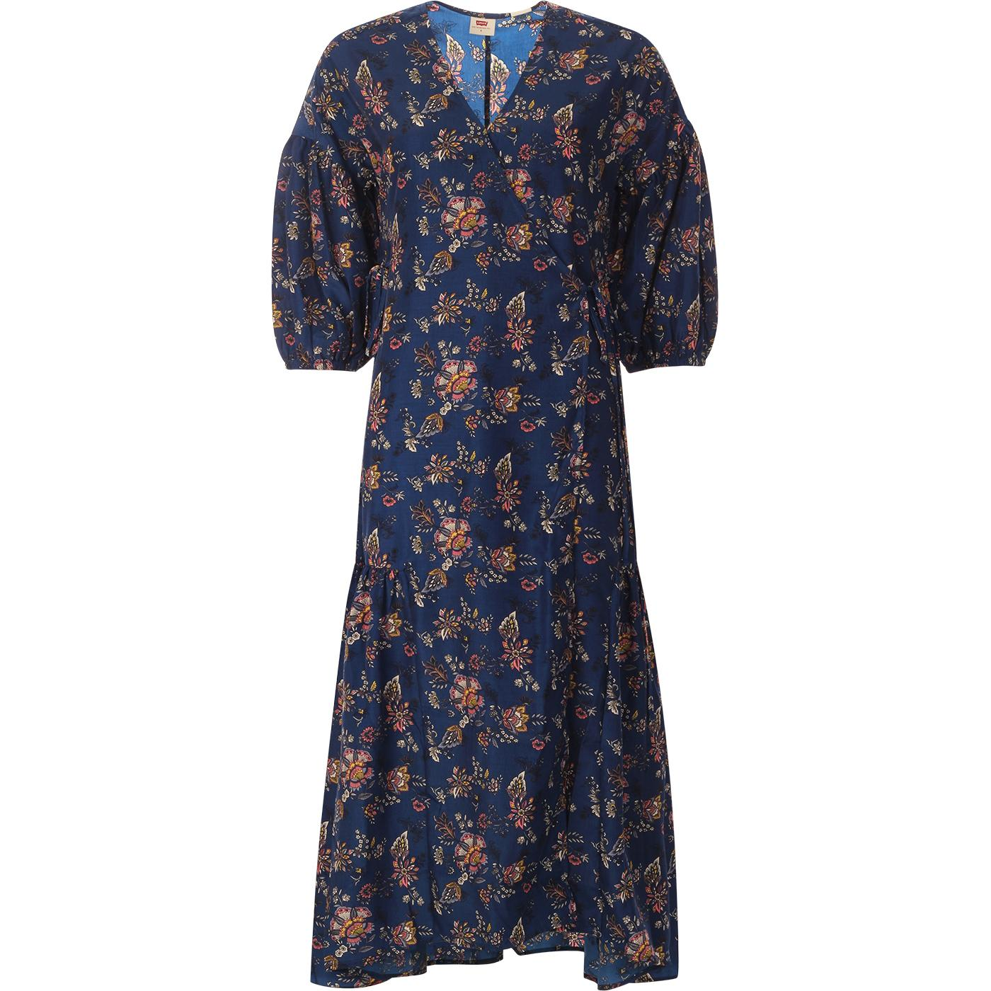 LEVI'S Blair Retro 60s Jacobean Paisley Wrap Dress
