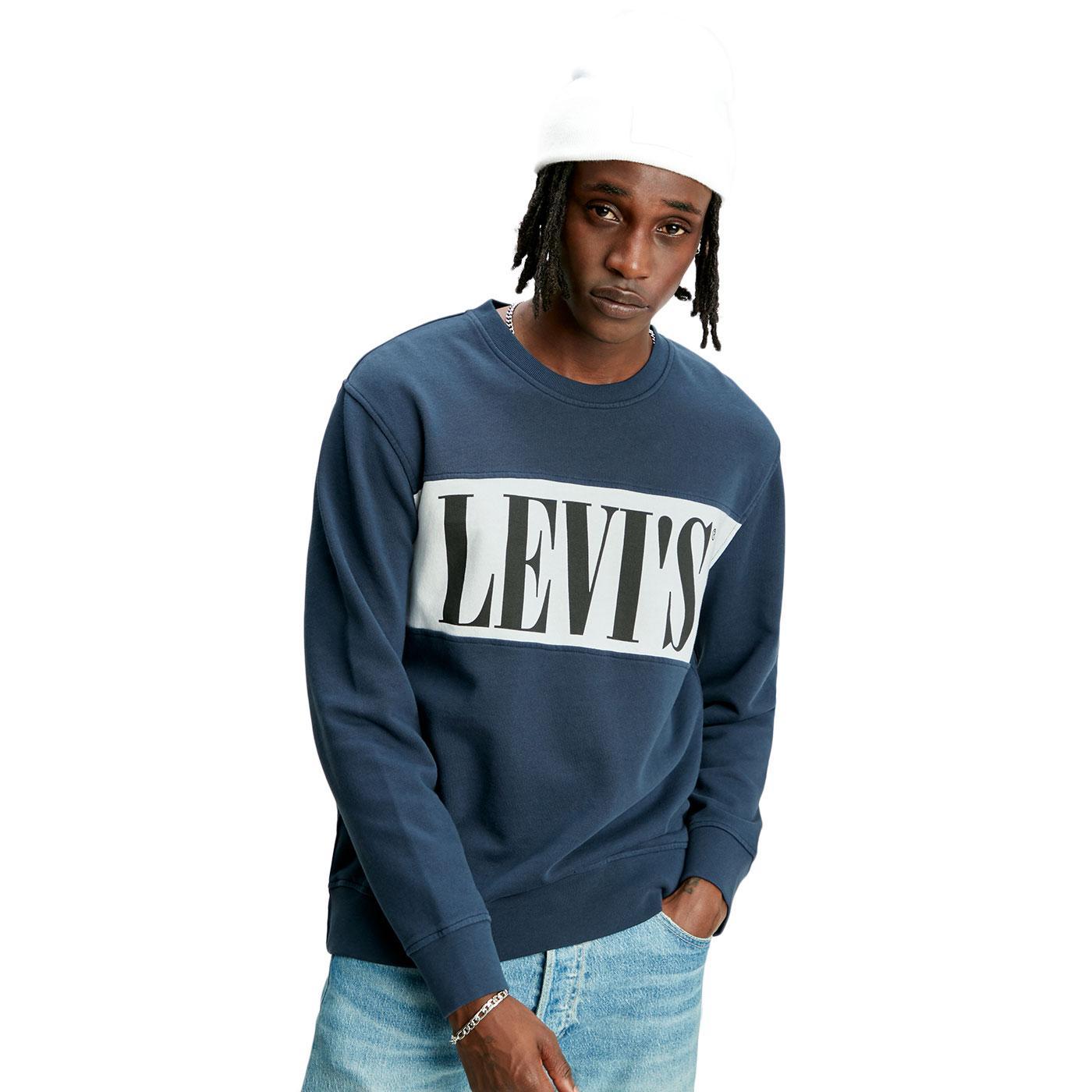 LEVI'S Retro Logo Colourblock Crew Sweatshirt NAVY