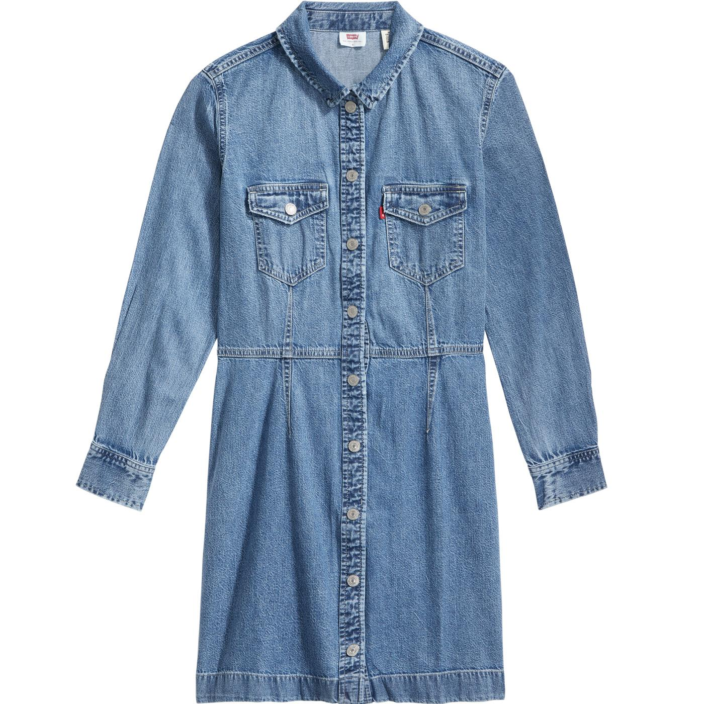 Ellie LEVI'S WOMENS Retro 70s Denim Dress in Blue