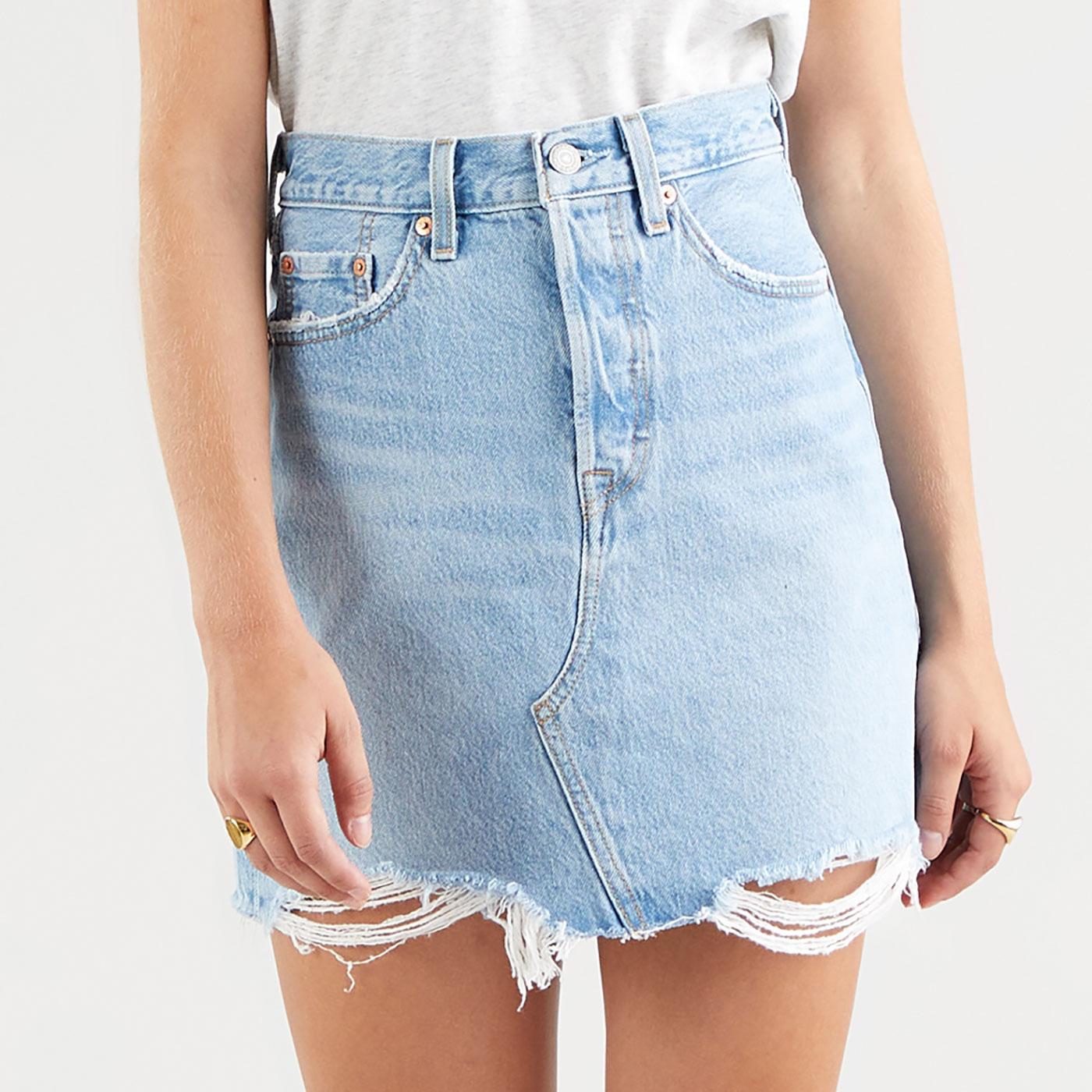 LEVI'S Retro High Rise Distressed Denim Mini Skirt