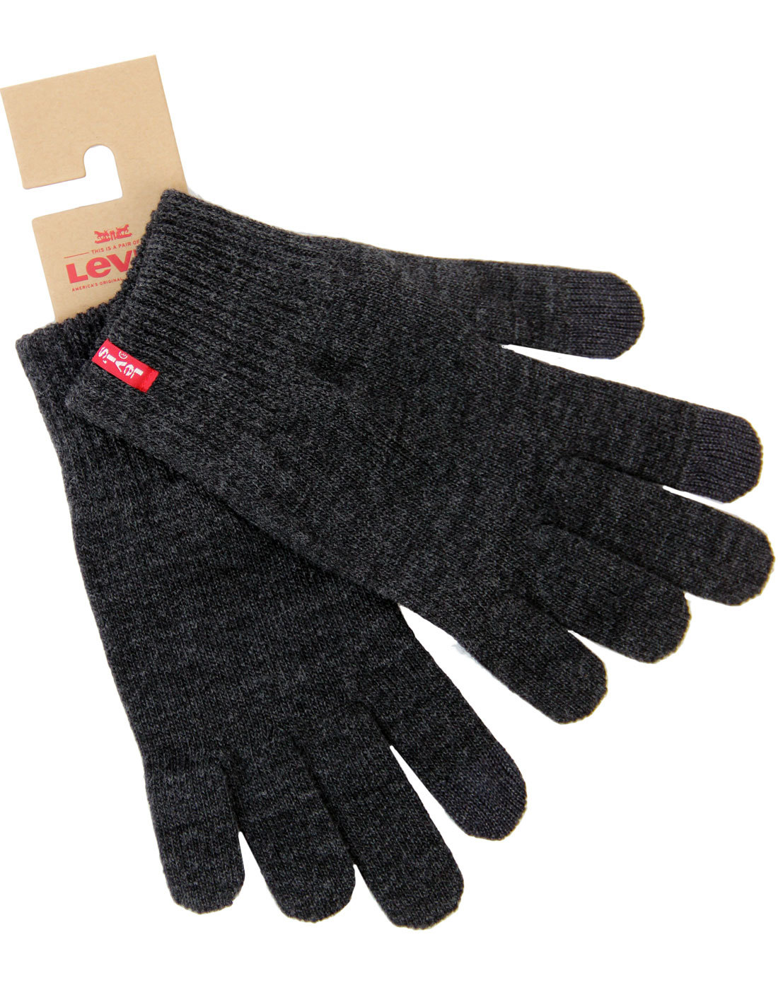 LEVI'S® Knit Touch Screen Ribbed Cuff Gloves GREY