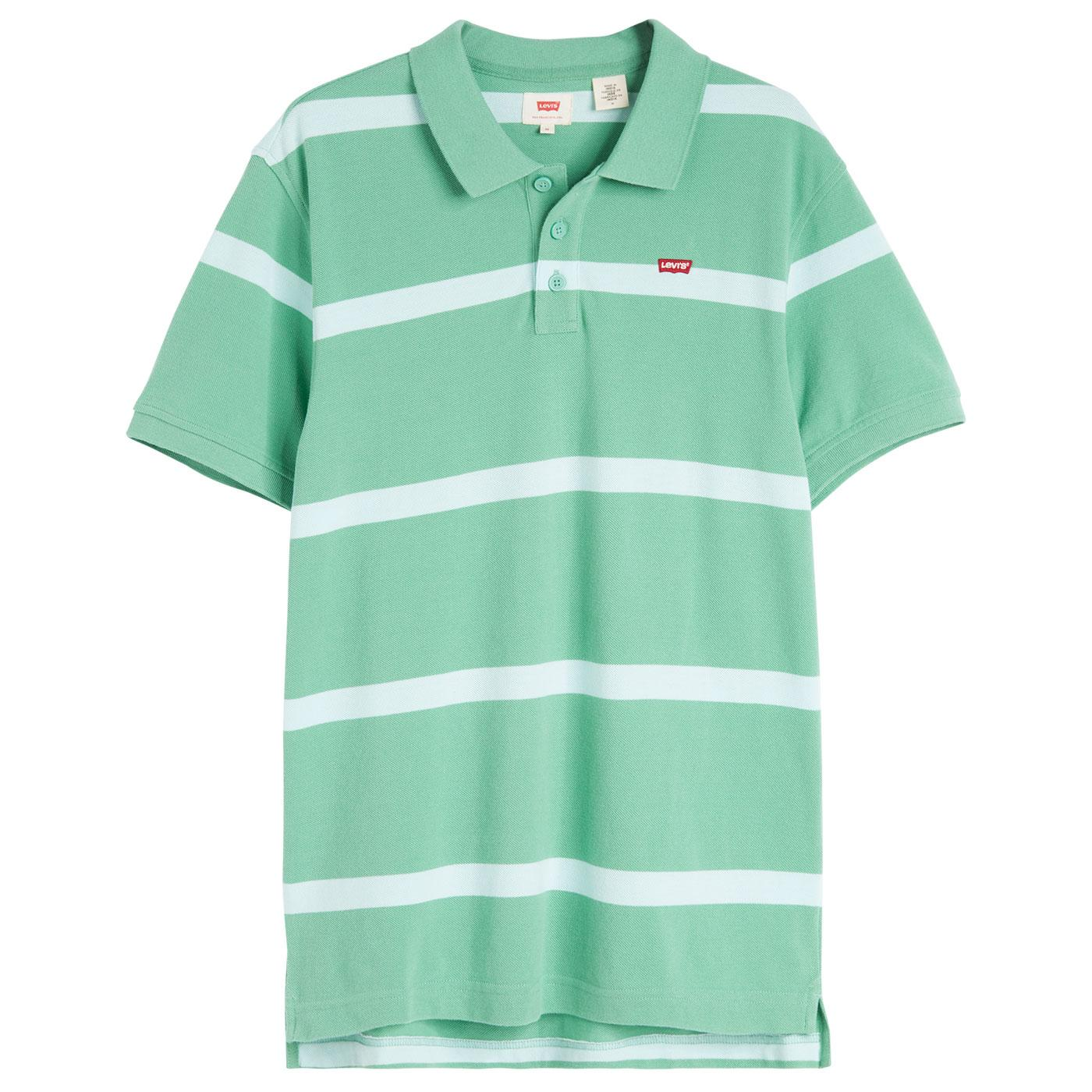 LEVI'S Retro Mod HM Good Jay Stripe Polo Top GREEN