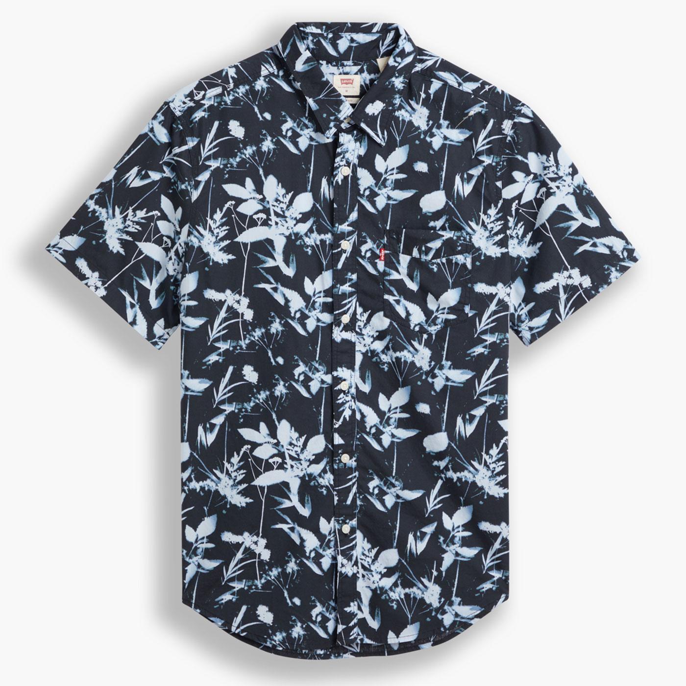 LEVI'S Sunset 1 Pocket Retro 70s Leaf Print Shirt