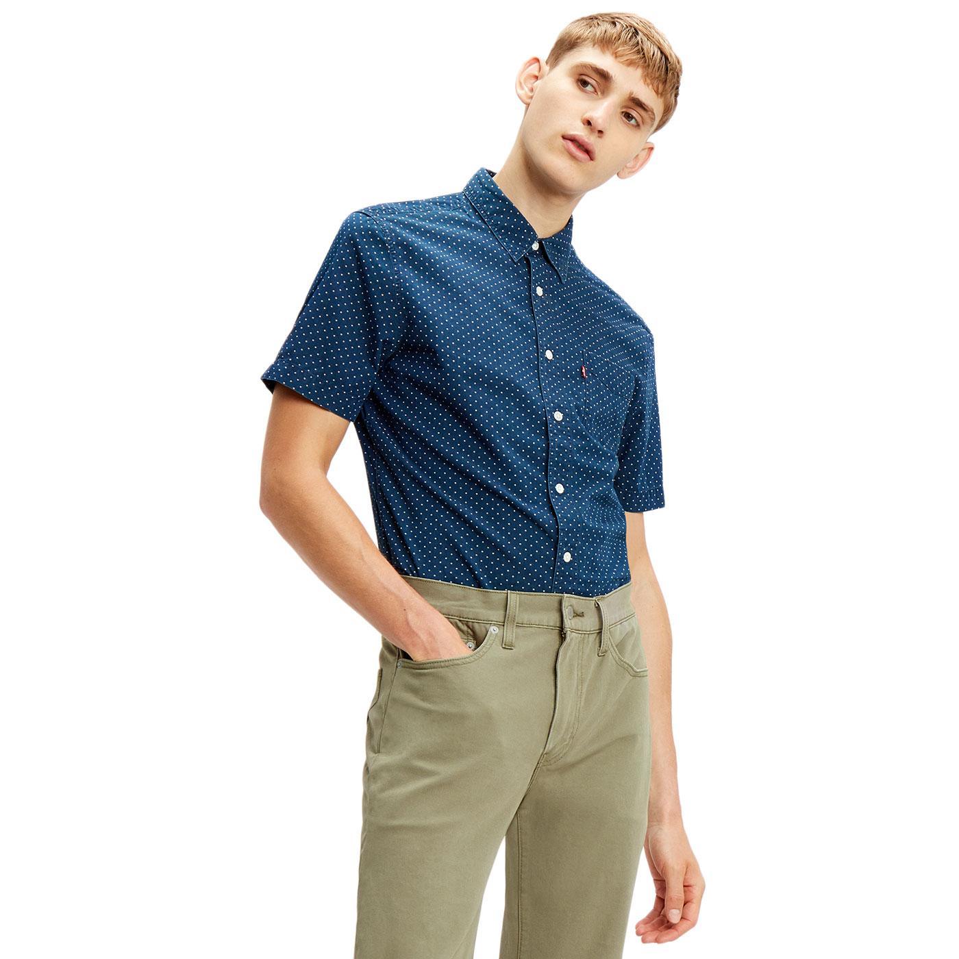LEVI'S Retro Mod S/S Sunset 1 Pocket Pin Dot Shirt