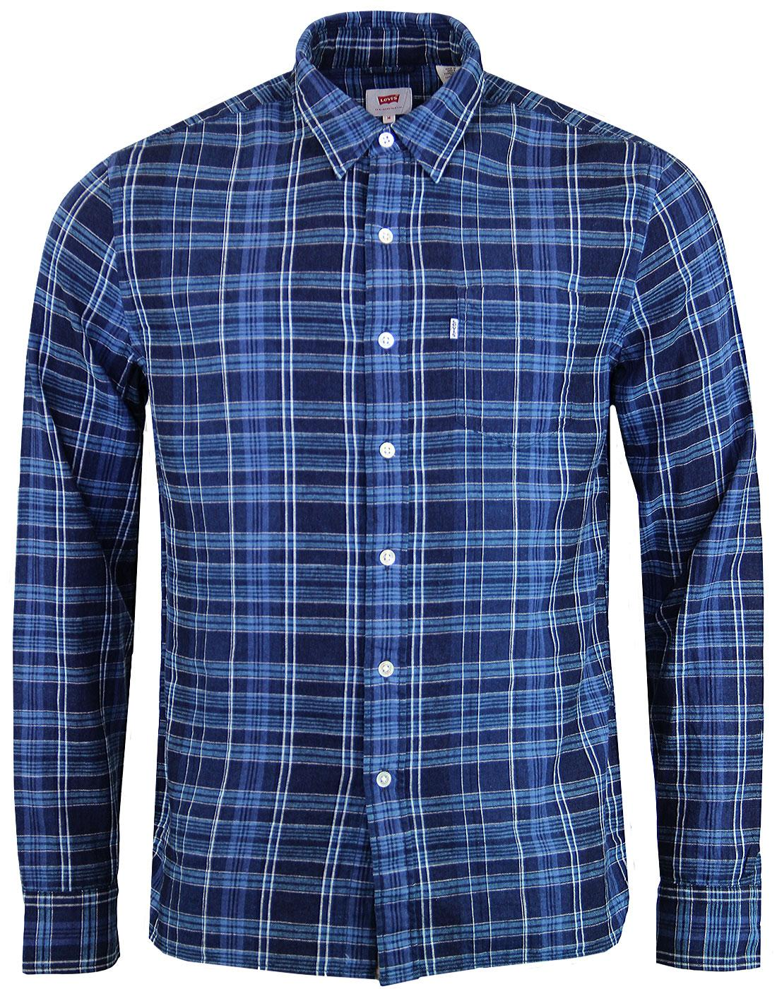 LEVI'S Sunset Pocket Indigo Dye Linen Check Shirt