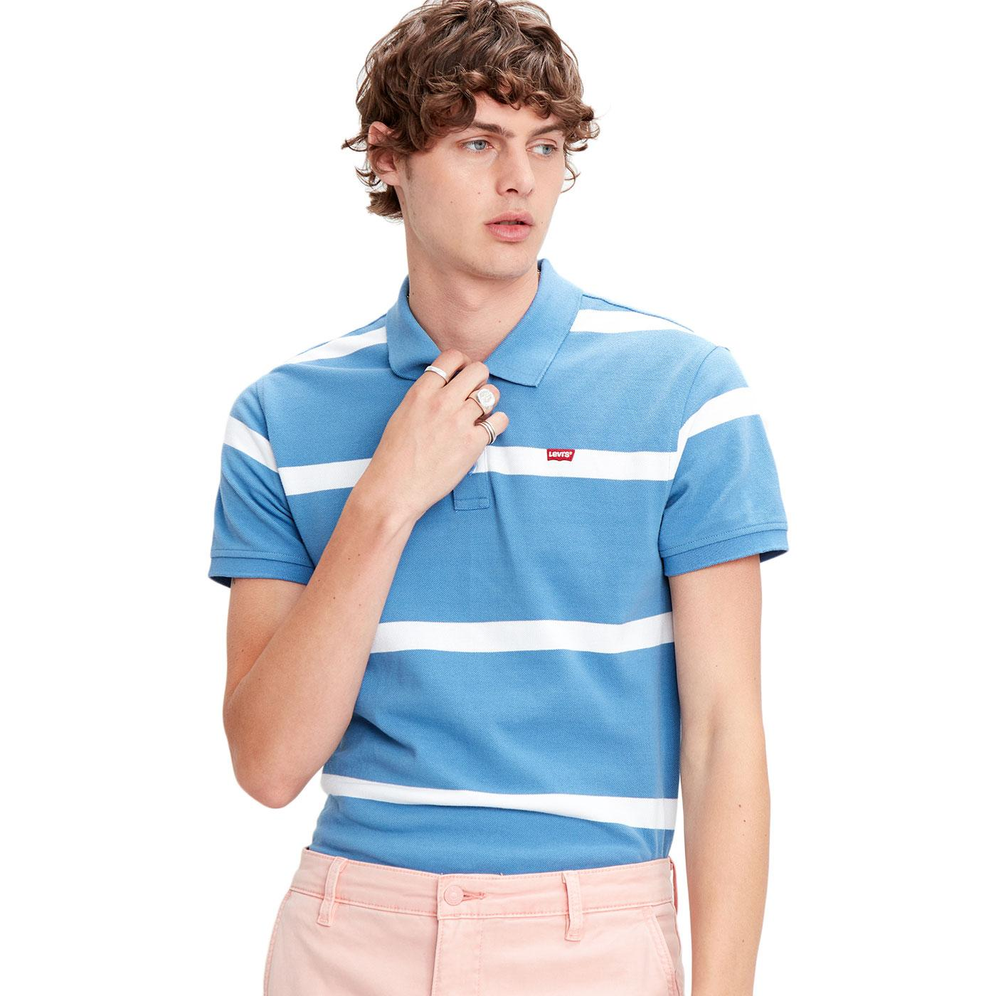 LEVI'S Retro Mod HM Good Jay Stripe Polo Top BLUE