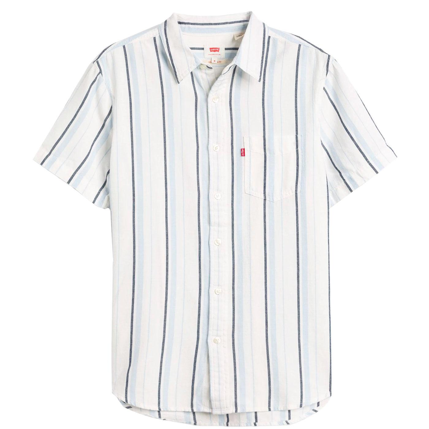 LEVI'S Retro Stripe Linen Blend 1 Pocket Shirt (C)