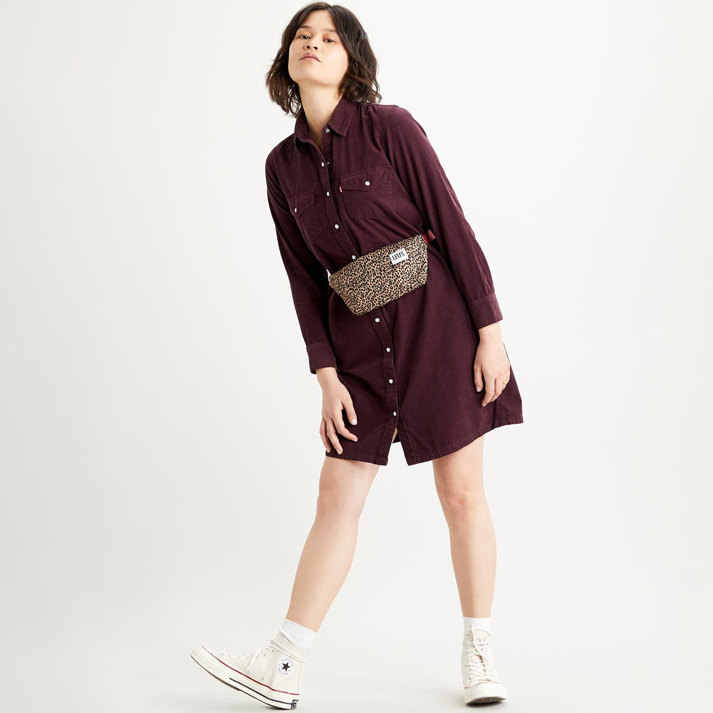 Selma LEVI'S Retro 70s Cord Shirt Dress in Malbec