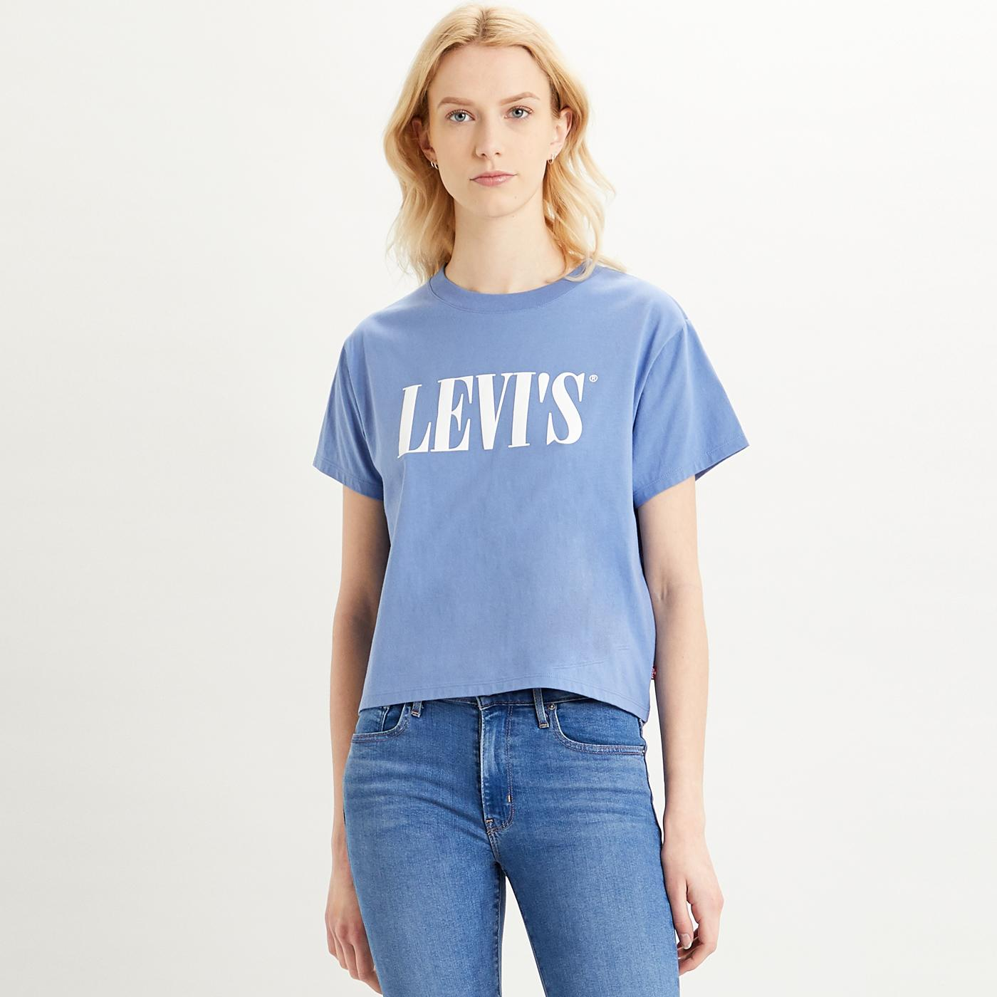 Varsity Tee LEVIS WOMENS Retro 90s Blue Boxy Tee