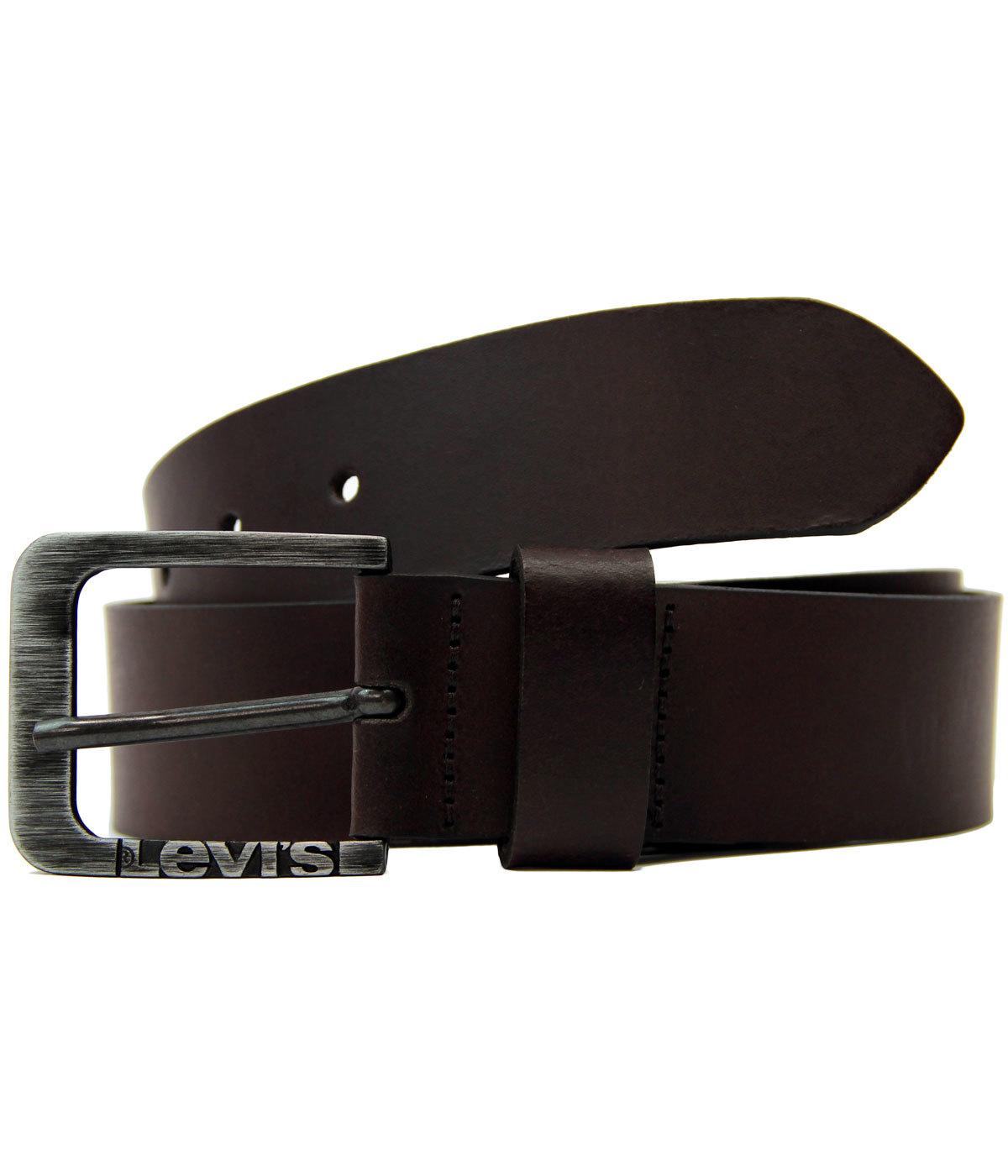 LEVI'S® Retro Mod Leather Side Logo Buckle Belt