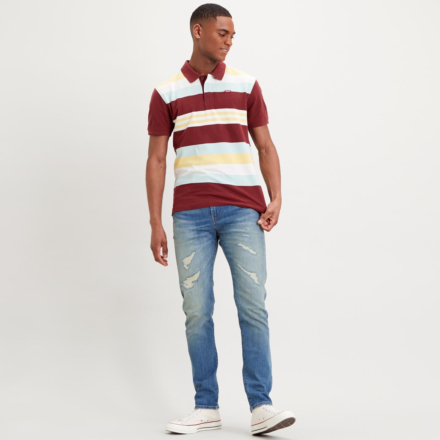 LEVI'S Retro Mod Variegated Stripe Polo Shirt PORT