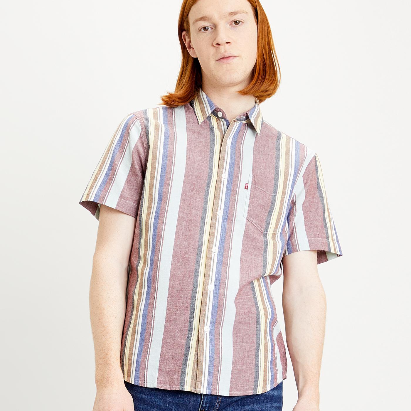 LEVI'S S/S Retro Stripe Classic 1 Pkt Shirt (Tofu)