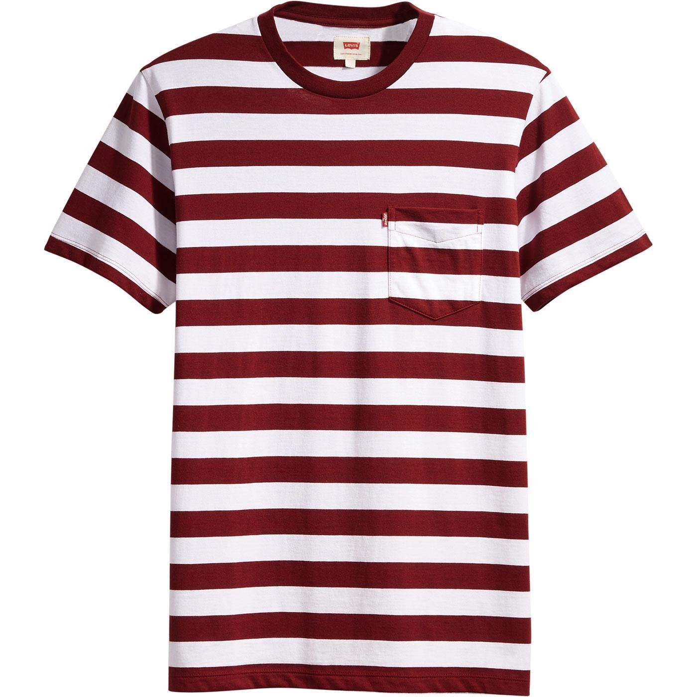 Retro Indie Striped Navy//White//Red Cotton Pocket T Shirt …