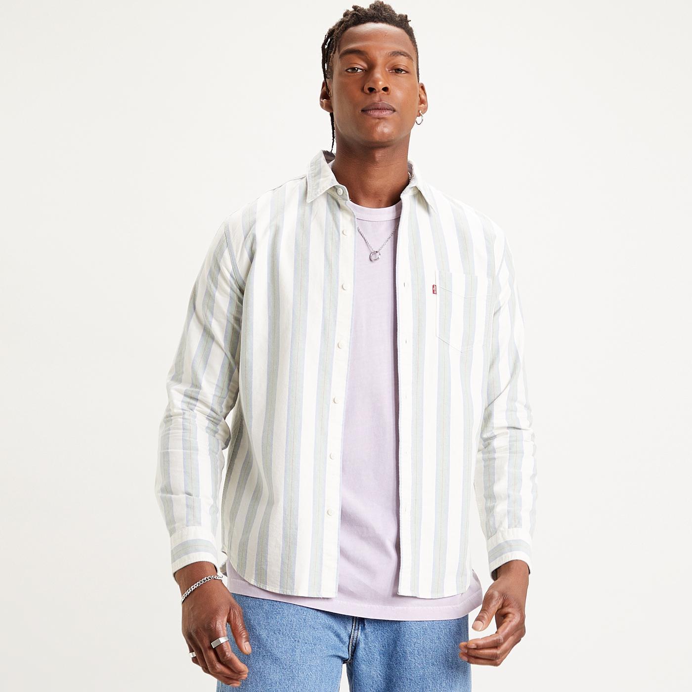 LEVI'S Sunset 1 Pocket Retro Mod Stripe Shirt (HG)