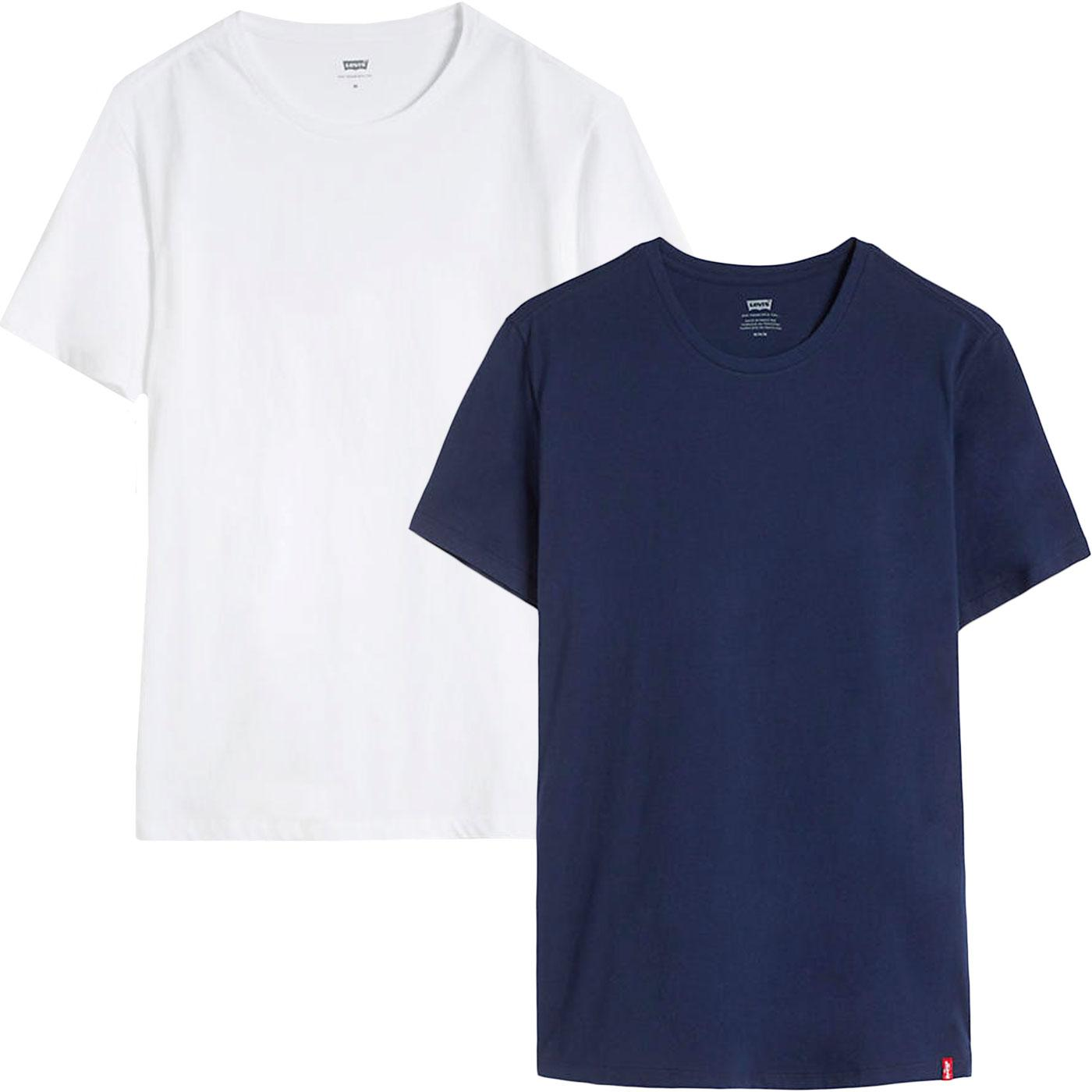 LEVI'S Slim 2 Pack Retro Crew Neck T-shirt (DB/W)