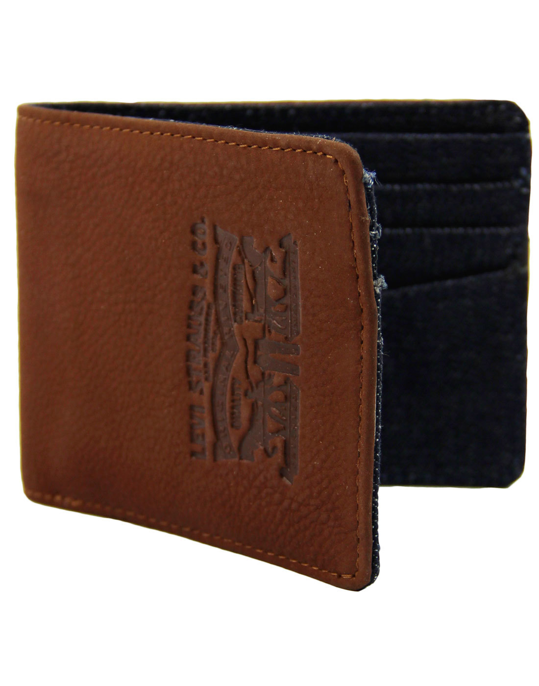LEVI'S® Leather and Denim Retro 70s Bifold Wallet