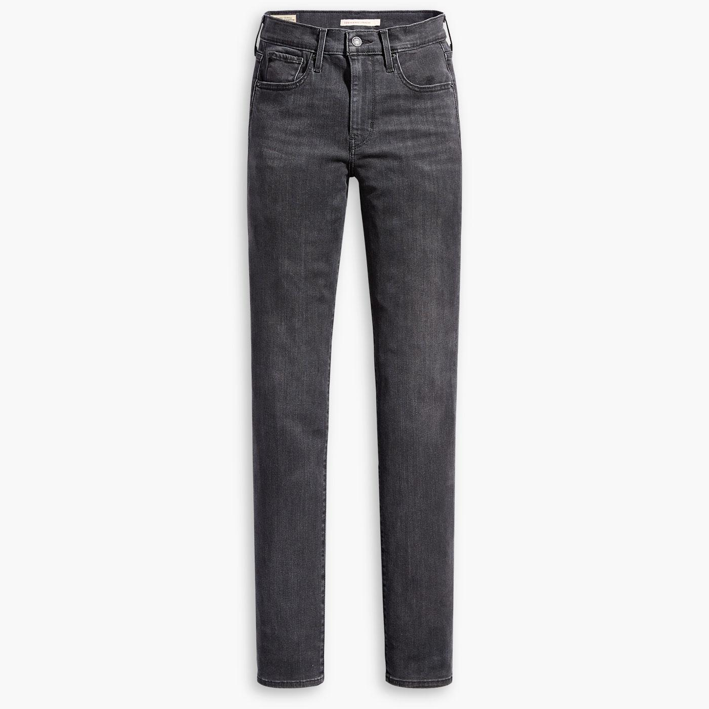 LEVI'S 724 High Rise Straight Jeans in Black Hail