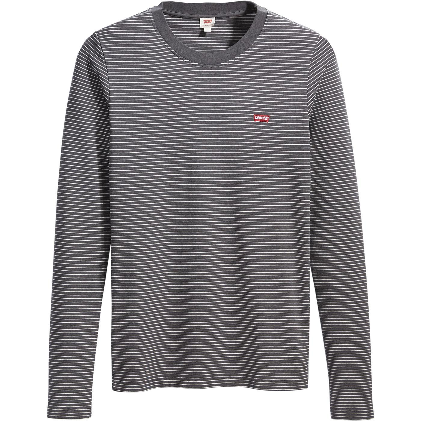 LEVI'S Womens Agnes Stripe LS Baby Tee FORGED IRON