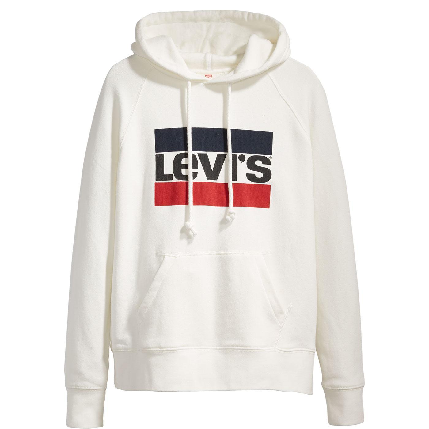 LEVI'S Women's Sportswear Retro Logo Hoodie WHITE