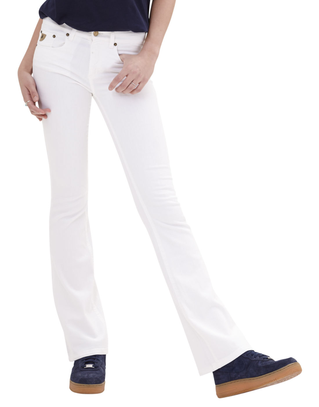 Melrose LOIS Retro 1970s Satin White Denim Flares