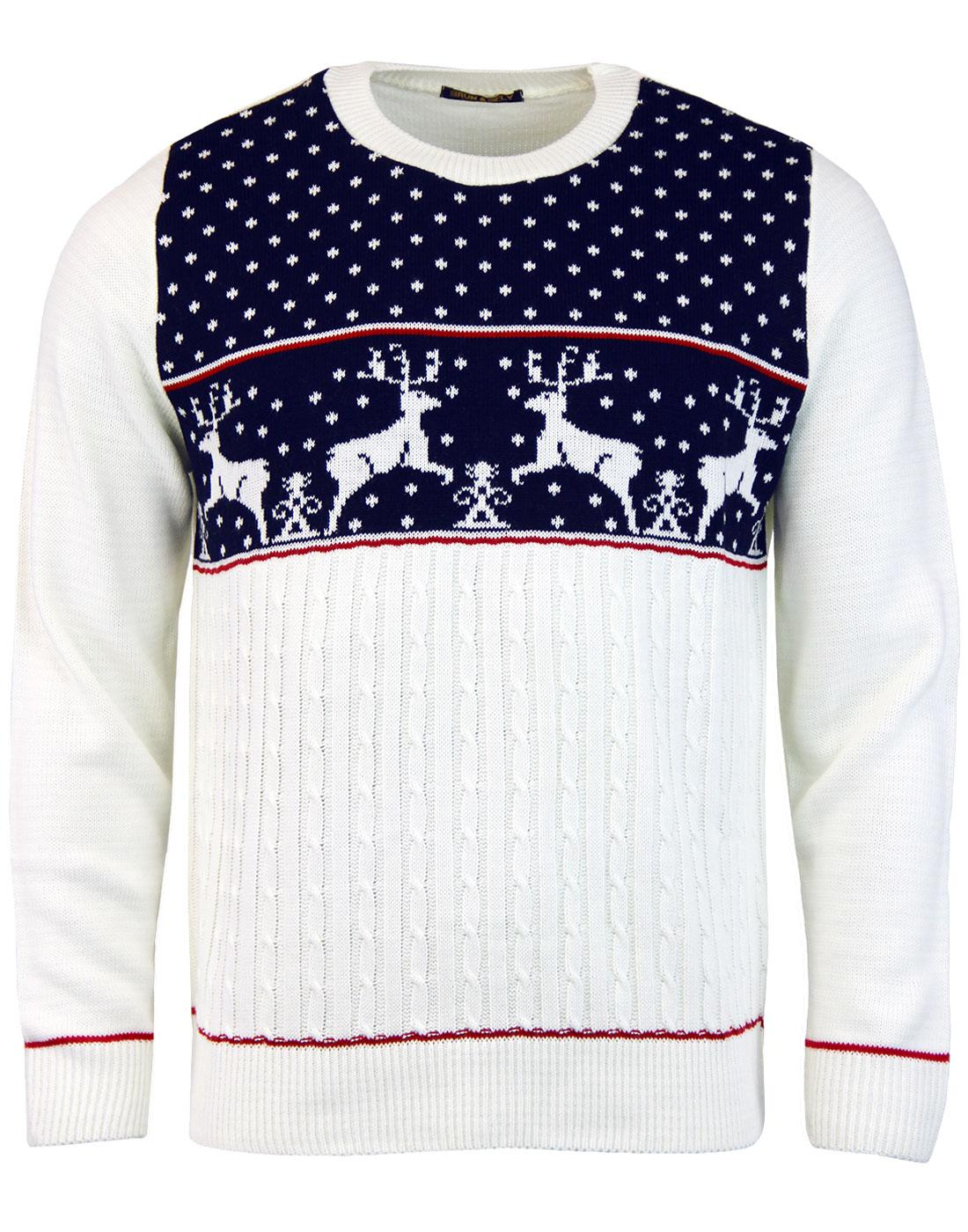 Reindeer Retro Christmas Jumper in Navy   Retro Xmas Sweaters
