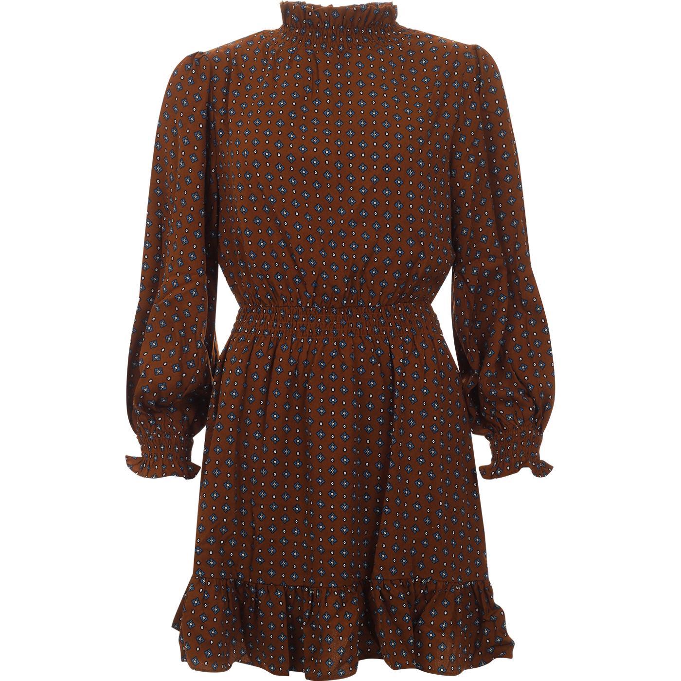 Alana LOUCHE Shirring Collar Vintage Stamp Dress