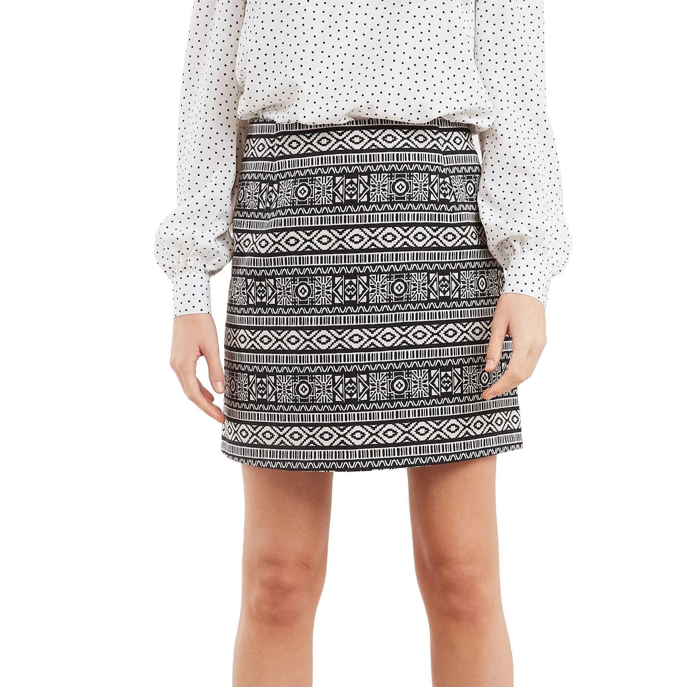 Aubin LOUCHE Jacquard Folk Stripe Mini Skirt B/W