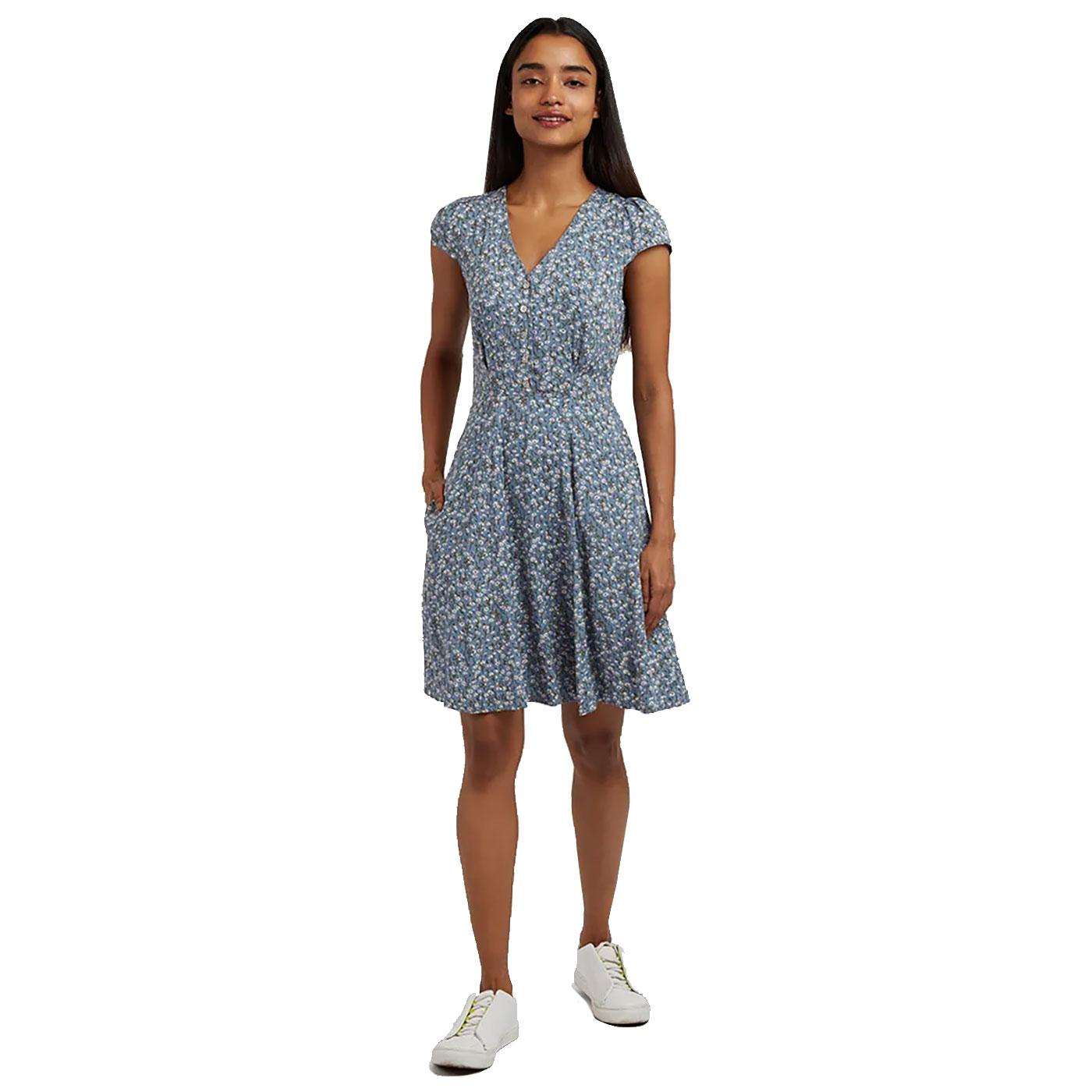 Cathleen Flax LOUCHE 60s Floral Mini Dress (Blue)