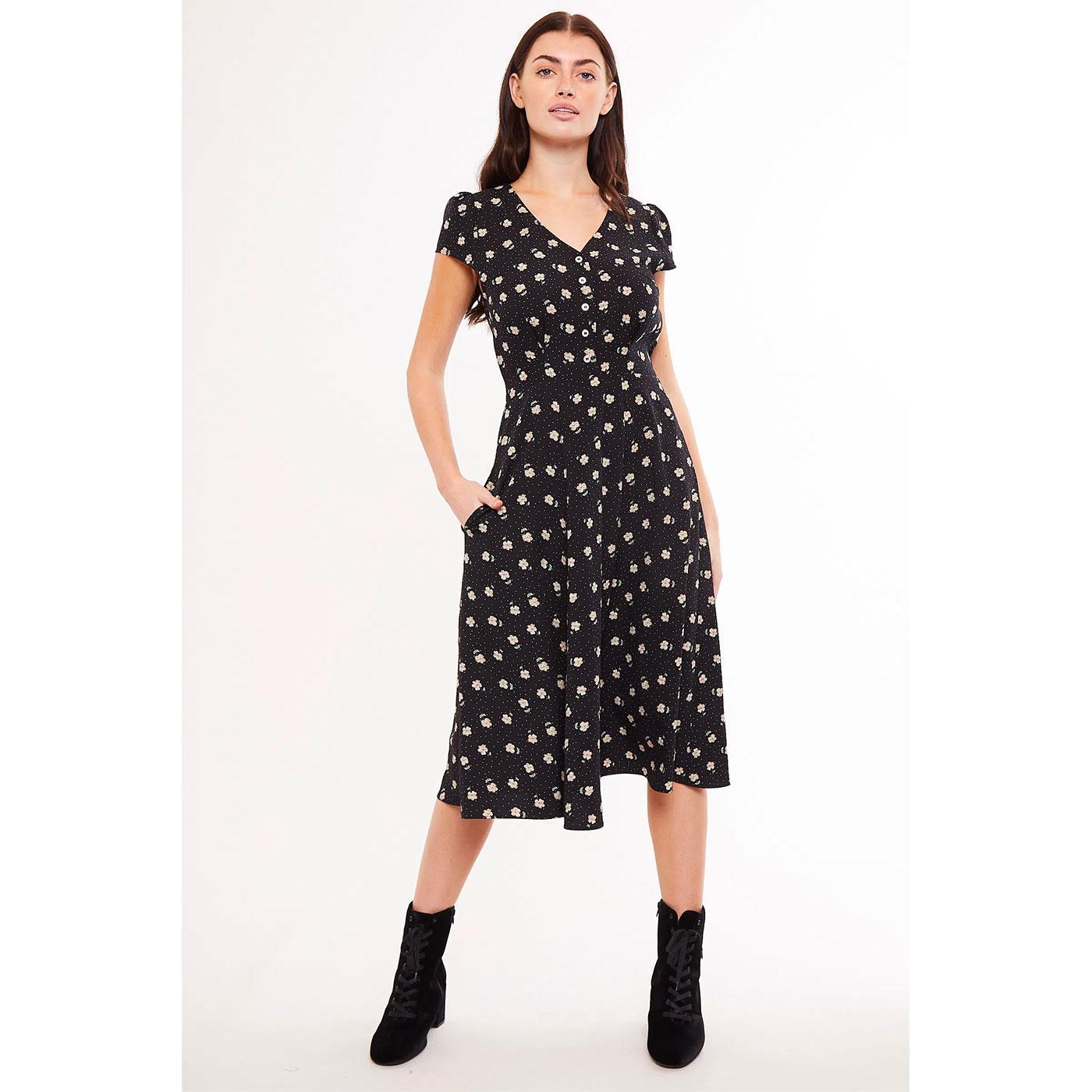 Cathleen LOUCHE Retro Midi Dress in Black Anemone