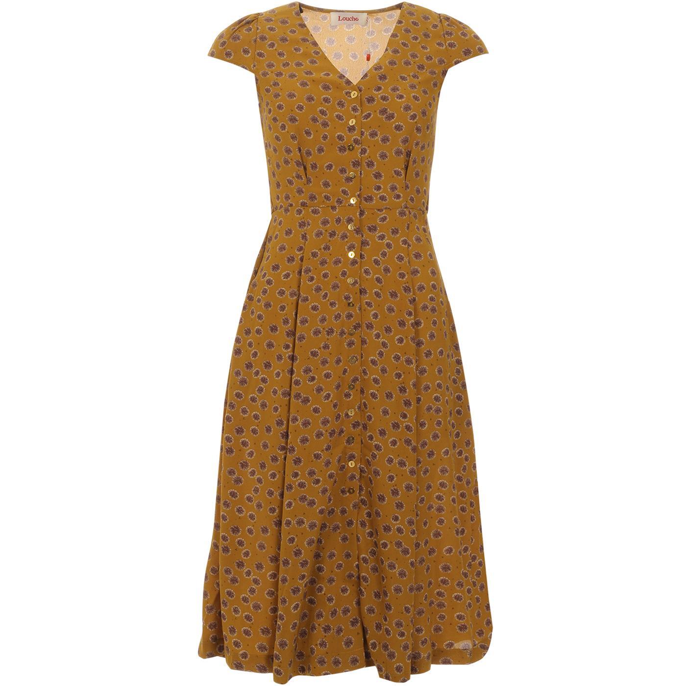 Cathy LOUCHE Dandelion Print Tea Dress In Mustard