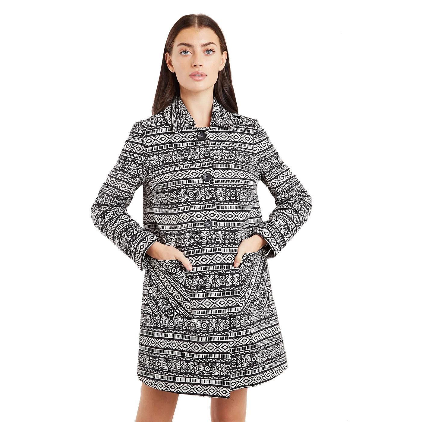 Dryden LOUCHE Retro Jacquard Folkstripe Short Coat