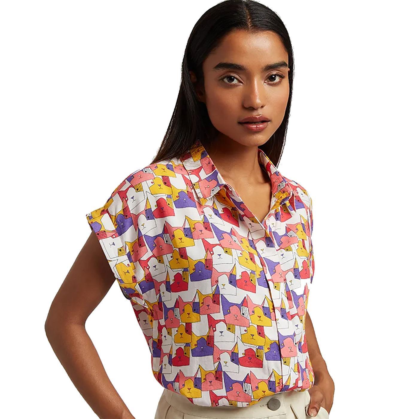 Abinaya Geocats LOUCHE Retro 70s Cat Print Shirt